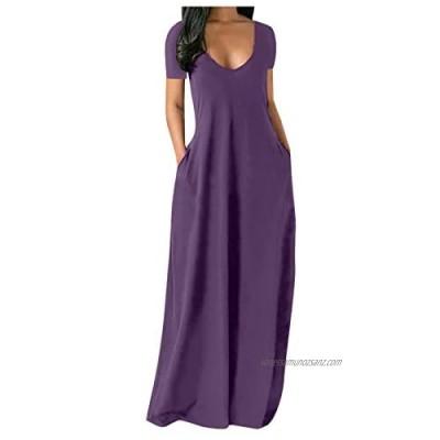 DOLDOA Women Casual Sexy Deep V Neck Summer Solid Color Bodycon Long Maxi Dresses Floor Length Short Sleeve Plus Size Sundresses