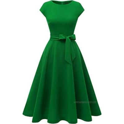 DRESSTELLS® Women's 50s Vintage Bridesmaid Cap-Sleeve Round Neck Swing Cocktail Party Dress