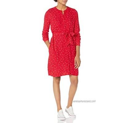 Essentials Women's Long-Sleeve Banded Collar Shirt Dress