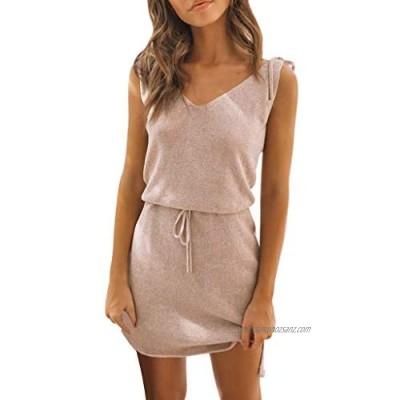 Gofodn Ladies Dresses for Women Sexy Summer Elegant Solid Sleeveless V Neck Casual Loose Irregular Mini Dress