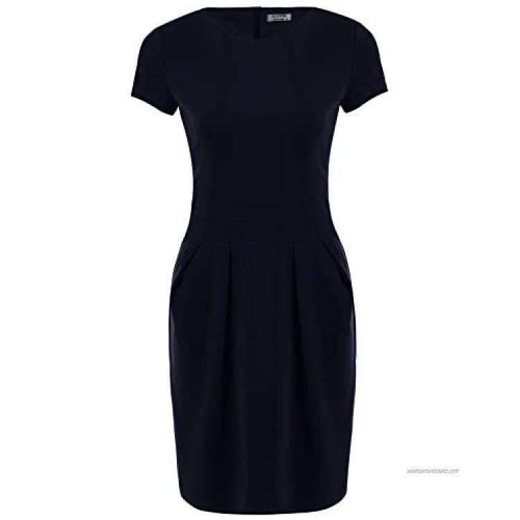 IN'VOLAND Women's Work Dress Official Wear to Work Retro Business Short Sleeve Bodycon Pencil Dress Round Neck
