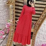 Jiehao Turkish Muslim Pop Polka Dot Ruffle Maxi Dress – Polyester Pleated Abaya Dress with High Waist Full-Sleeves   Ethnic Clothing