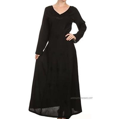 Sakkas Lilybell Embroidered Bell Long Sleeve V-Neck Adjustable Caftan Dress