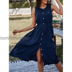 Women Casual Summer Dress Sleeveless Button Down Swing Midi Dresses with Drawstring