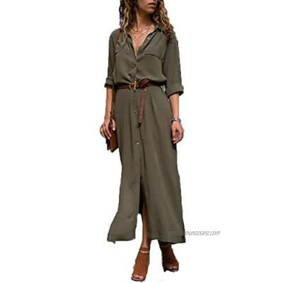 Womens Casual Shirt Dress Roll up Sleeve Button Down Maxi Dresses