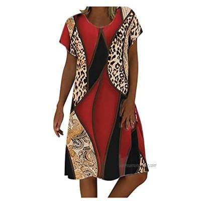 YRxUIAI Women's Summer Knee Length Dress Round Neck Short Sleeves Print A Line Dress Casual Daily Wear Summer Holiday Beach Short Dress(Red Green)