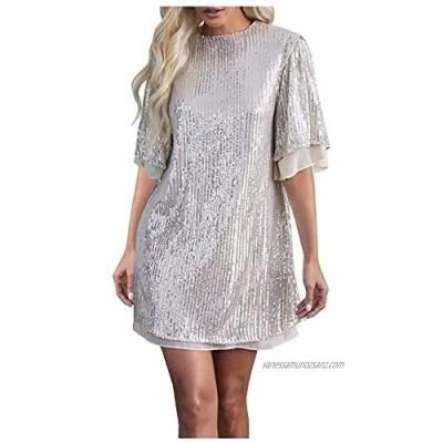 Asenie Womens Sequin Short Sleeve Dress Glitter Dress Sexy Glitter V Neck Mini Party Club Bodycon Dress Shift T Shirt Dress