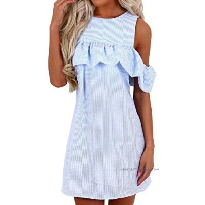 Minetom Womens Ladies Summer Sexy Casual Off Shoulder Striped Round Neck Short Sleeve Ruffle Mini A-line Dress Party Wear