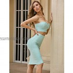 MxZas Ladies Evening Dress Sexy Navel Wrapped Chest Short Top Midi Skirt Two Piece Set Women Bandage Club dress (Color : Green Size : L)