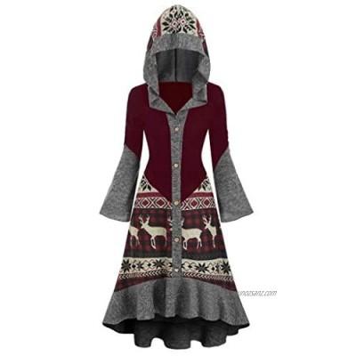 RODMA Elan Christmas Knit Dress for Women Large Size Winter Tops Hemline Ruffles
