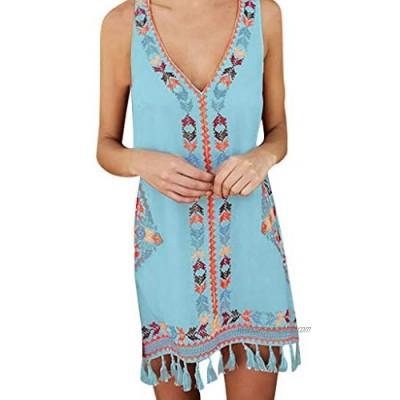 Summer Bohemia Tassel Casual Print Sleeveless Dresses Women Fashion Beach Mini Dress White/Shy Blue/Yellow