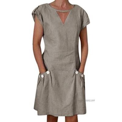 Toamen Summer Casual Dress Sale Women Vintage V Neck Short Sleeve Button Pocket Loose Swing A-line Dress