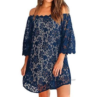 Toamen Womens Summer T-Shirt Dress Sale Sexy Off Shouder Lace Short Sleeve Loose Beach Party Swing A Line Mini Dress