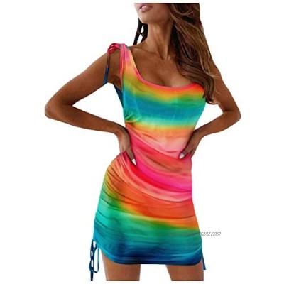 Usblom Womens Tie Dye Sleeveless Dress Drawstring Bodycon Mini Dress Sheath Ruched Side Lace up Dress Slim Sexy Mini Dress