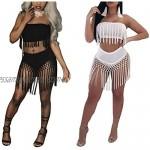 VERYCO Women 2 Piece Crop Top Skirt Set Dress Sexy Bodycon Tassels Strapless Vest Tank Top + High Waist Bottom Outfit Party Clubwear