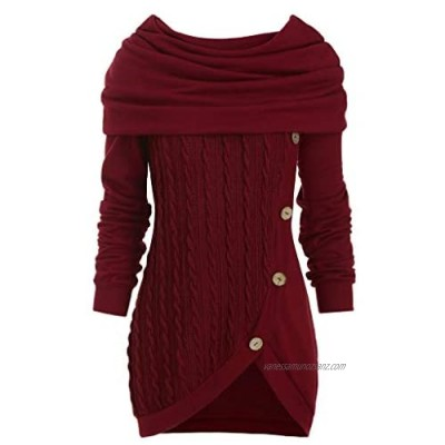 Younthone Women Plus Size Solid Color Button Heap Collar Hooded Irregular Knitted Sweater Jumper Casual Sweatshirt Dress Christmas Party Elastic Slim Hoodie Everyday Blouse Tops Comfortable Shirt