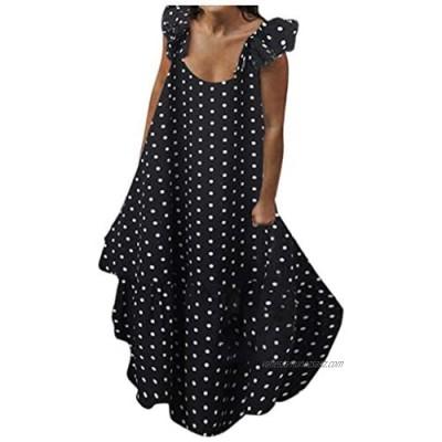 AMhomely Women Dresses Promotion Sale Clearance Ladies Bohe Polka Print Dress Casual Round Neck Sleeveless Long Dress Plus Size Dress Party Elegant Dress Vintage Dress UK Size S - XXXXL