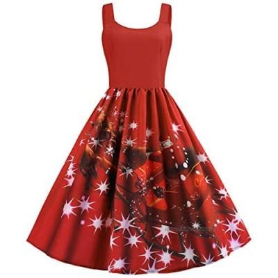 AMhomely Women Dresses Promotion Sale Clearance Ladiess Christmas Vintage Midi Swing Dress Xmas Santa Party Skater Dresses Plus Size Dress Party Elegant Dress Vintage Dress UK Size S - XXXXL