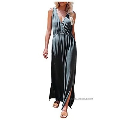 HCFKJ Women Dresses Summer Fashion Casual Purely Color Halterneck V-Neck Short-Sleeved Long Dress Summer Beach Party Evening Grown Gift for Lady Teen Grils