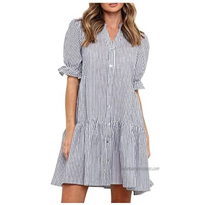 HCFKJ Women Dresses Summer Fashion Ladies Loose Casual Striped Ruffle Dress Short Sleeve Summer Beach Party Evening Grown Gift for Lady Teen Grils