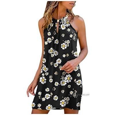 Neckholder Dress Women Short Sexy Sleeveless Dress Women Summer Dress Boho Dress Women Short Casual Dress Round Neck Halter Shirt Dress T-Shirt Blouse Loose Casual Tops Mini Dress