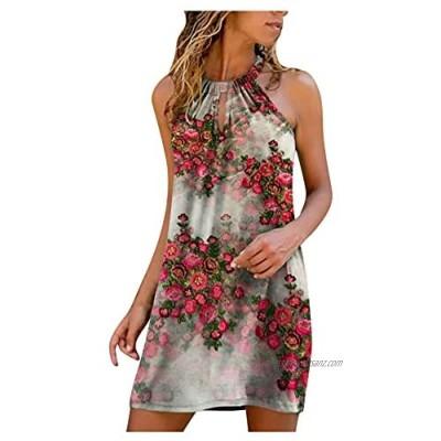 SolaXii Women's Floral Print Summer Dress Short Beach Dress Halterneck Knee-Length Off Shoulder Dress Sexy Casual Dresses Summer Midi Dress Elegant Mini Dresses Blouse Dress