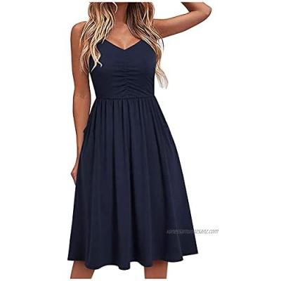 SolaXii Women's Sleeveless Dresses Mini Dresses Tunic Dresses Mini Evening Dress Short Elegant Ruffle Dress Short Dresses Party Summer Casual Dresses Knee-Length Mini Playsuit