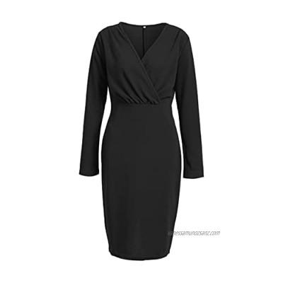 Womens Elegant V-Neck Long Sleeve Work Pencil Dress Slim Fit Bodycon Stretch Business Dresses