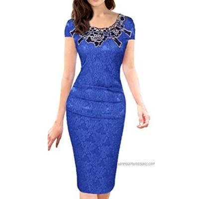 XIGUAK Womens Business Office Knee-Length Dress Elegant Print Rose Lace O-Neck Cap Sleeve Pencil Dress