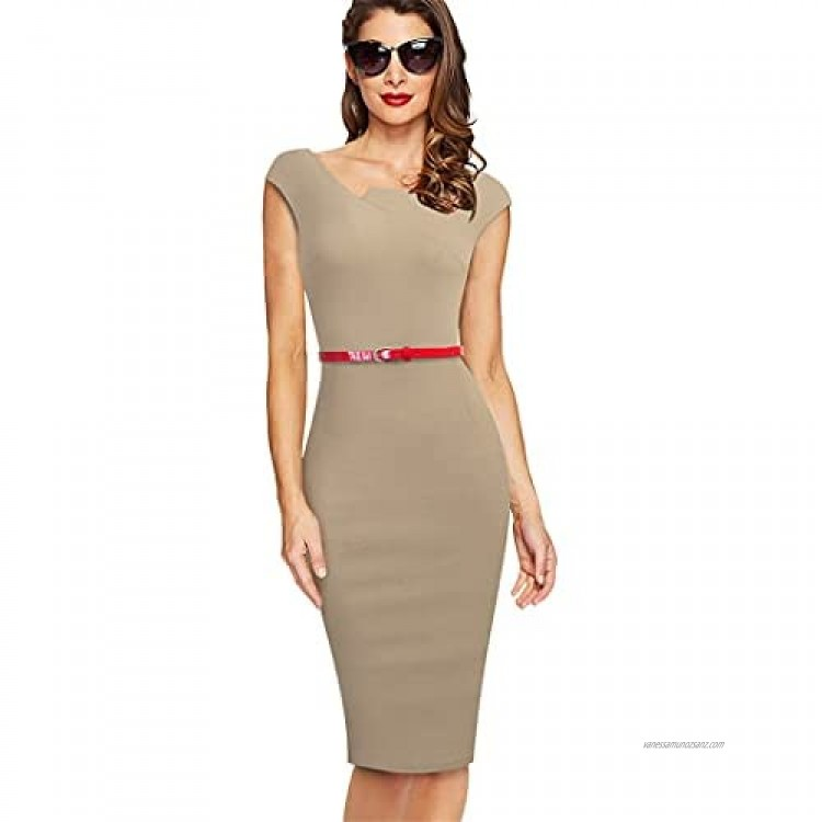 Y-Backpacest Elegant Work Office with Belt Dresses Business Party Bodycon Women Sheath Dress