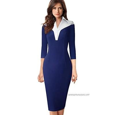 Y-Backpacest Women Contrast Color Patchwork Vinatge Work Dresses Office Business Fitted Slim Pencil Dress
