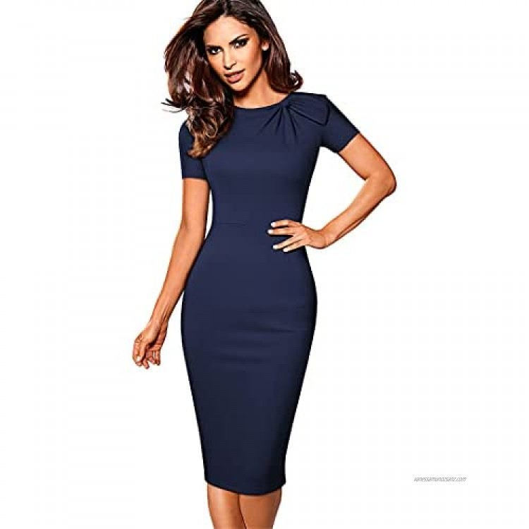 Y-Backpacest Women Elegant Solid Color Work Dresses with Bow Formal Business Slim Pencil Dress