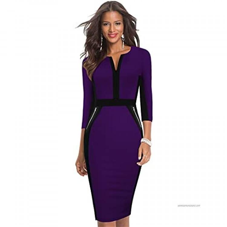 Y-Backpacest Women Fashion Contrast Color Patchwork Office Dresses Wear to Work Formal Elegant Business Dress