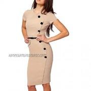 Zimaes-Women Short Sleeve Career Office Knee Length Pencil Sheath Dress