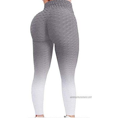 AM-Clearance Womens Gradient Leggings Fitness Running Yoga Gym Sports Full Length Stretchy Active Pants Honeycomb Textured Long Pants Bubble Hip Lifting Running Long Trousers Tiktok Plus Size