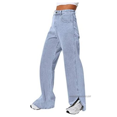 BOIYI Jeans for Women Women's 70s Bootcut Stretch Skinny Jeans Baggy Side Split Jeans for Women High Waisted Vintage