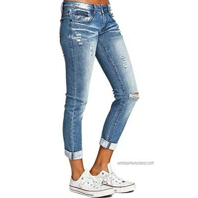 Sexy Dance Ripped Jeans Womens Stretch Hold Pencil Pants Silm Fit Skinny Trousers Classic Denim Casual Trousers Mid Waist
