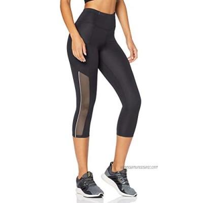 Brand - AURIQUE Women's Side Stripe Cropped Sports Leggings