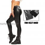 CROSS1946 Women's Super Shiny Sexy Faux Leather Slim Fit Leggings for Curvy Hips Stretchy PU High Waisted Pants