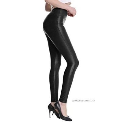 FEDTOSING Womens Faux Leather Leggings Stretch Trousers High Waisted Skinny Pants with Hidden Pocket