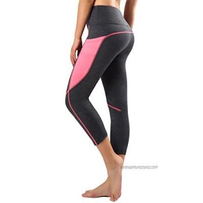 Flatik Womens Athletic Yoga Pants Workout Yoga Capri Leggings Fitness Tights Gym Leggings