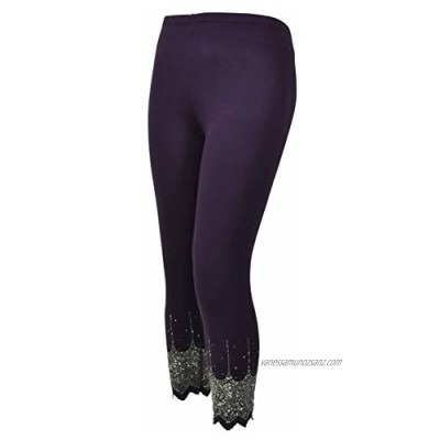 New Ladies Plus Size Silver Web Sequin Stretch Womens Beaded 3/4 Leggings
