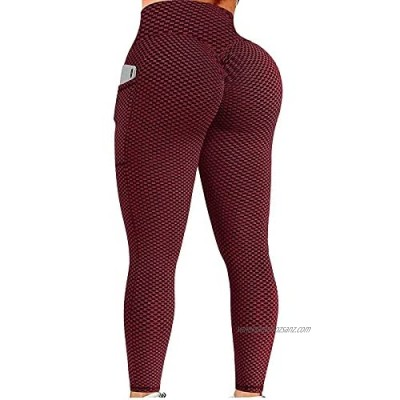 ReooLy Women TIK Tok Butt Lifting Leggings with Pocket High Waisted Bubble Hip Lift Yoga Pant Honeycomb Yoga Running Leggings Workout Fitness Sports Running Yoga Athletic Pants