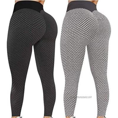 Womens Honeycomb Leggings Women's High Waist Yoga Pants Anti Cellulite Stretch Running Workout Yoga Leggings Scrunch/Ruched Butt Lift Tummy Control Sport Tights 2PCS/1PC