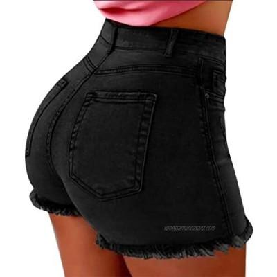 Gofodn Ladies Shorts Women Summer Casual Jeans Fashion Plus Size Pockets Denim Shorts