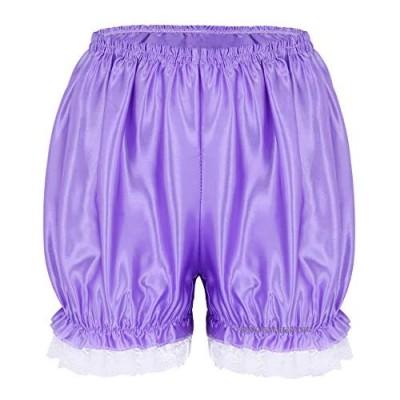 Kaerm Womens Shiny Satin Ruffled Lace Hem Pumpkin Blommers Security Short Pants Underwear