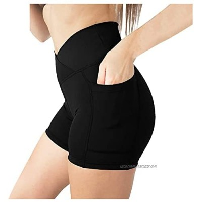 Poachers Yoga Shorts for Women with Pocket Sweatpants Leggings Hips High Waist Elastic Lifting Tights Slim Solid Color Tummy Control Summer Running Fitness Hot Pants Dance Gym Workout Sports