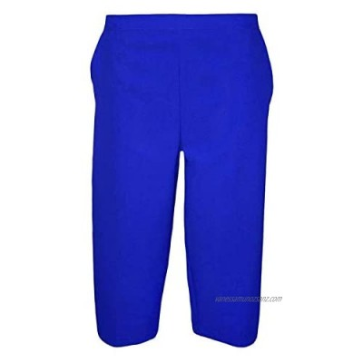 YCC® Ladies 3/4 Bowling Half Elasticated Waist Short Leg Cropped Trouser with Two Side Pockets Size | Women Shorts Capri Summer Office Formal Classic Pants Size UK 8-24