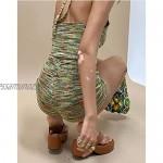 YQYJA Women Summer Shorts Set Y2k Sexy Deep V-Neck Rib Knit Halter Crop Top Camisole Shorts 2 Piece Outfits