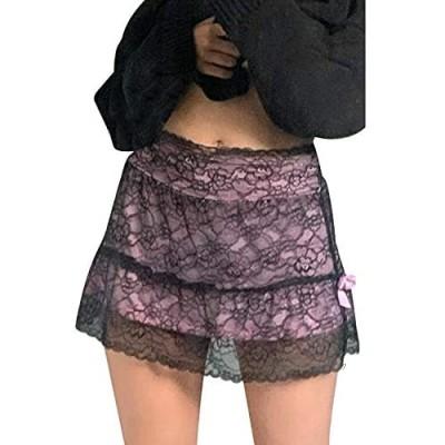 Timagebreze Patchwork Lace Gothic Skirt Women Punk Style Dark Academia Aesthetic Vintage Streetwear Goth Skirts